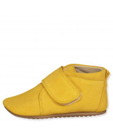 Yellow suede slippers