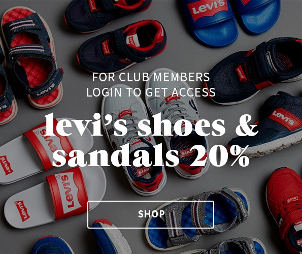 benefit 20% off on levi's shoes and sandals as my house member